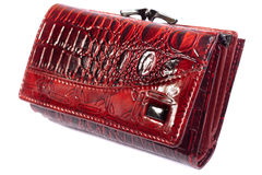 Red shiny purse isolated. Stock Photos