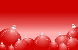 Red Shiny Round Christmas Ornaments Background Stock Photography
