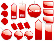 Red Shiny Sale Tags Stock Photography