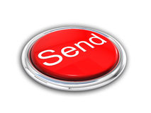 Red shiny send button Royalty Free Stock Photography