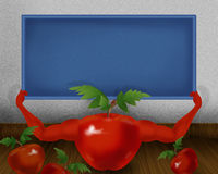 Red shiny tomato with hands and holding small blue color board illustration. Abstract background Royalty Free Stock Photos