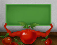 Red shiny tomato with hands and holding small green color board illustration Royalty Free Stock Image
