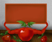 Red shiny tomato with hands and holding small orange board illustration. Abstract background Royalty Free Stock Photography