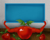 Red shiny tomato with hands and holding small sky color board illustration Royalty Free Stock Photo