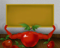 Red shiny tomato with hands and holding small yellow color board illustration. Abstract background Royalty Free Stock Photo