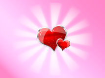 Red shiny vector heart for valentines day Royalty Free Stock Image