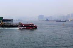 Red ship of hong kong ferry terminal Royalty Free Stock Photo