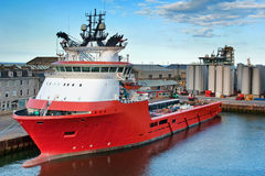 Red Ship in Port Stock Image