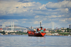 Red ship in the roads before Vladivostok Royalty Free Stock Images