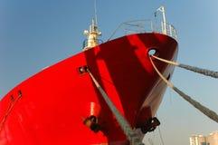 Red ship. Red schip in the harbor of Antwerpen, Belgium Stock Photos
