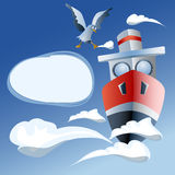 Red ship in the sea, clouds and seagull Stock Image