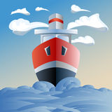 Red ship in the sea, clouds and waves Royalty Free Stock Photo