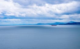 Red ship in vieetnamese sea stock photography