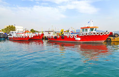 Red ships at Eleusis port Greece Stock Photos