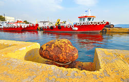 Red ships at Eleusis port Greece Stock Photo