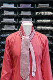 Red shirt with a pink tie. Red shirt in the store with a pink tie Royalty Free Stock Photos