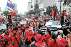 Red-Shirt Protest in Bangkok. BANGKOK - DECEMBER 19: Thouands of anti-government red-shirts defy an emergency decree to protest at Ratchaprasong Junction on Stock Images