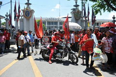 Red Shirt Protest. Ers gather at a rally outside the Thai Parliament on May 8, 2013 in Bangkok, Thailand. The approximately 3,000 protesters gathered outside Stock Photography