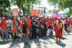 Red Shirt Protest. Ers gather at a rally outside the Thai Parliament on May 8, 2013 in Bangkok, Thailand. The approximately 3,000 protesters gathered outside Royalty Free Stock Image