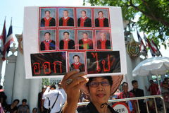 Red Shirt Protest. A woman joins a red shirt protest outside the Thai Parliament on May 8, 2013 in Bangkok, Thailand. The approximately 3,000 protesters gathered Stock Image
