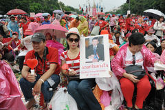 Red-Shirt Rally in Bangkok. Red-shirt supporters rally at Democracy Monument to mark the 6th anniversary of a military coup that ousted former prime minister Stock Images