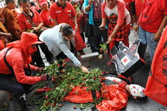 Red Shirt Rally in Bangkok Stock Image