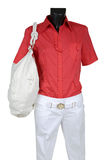 Red shirt and white jeans Stock Photo