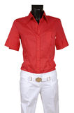 Red shirt and white jeans Stock Images