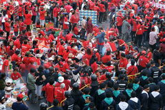 Red Shirts rally on Ratchaprasong Stock Photography