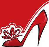 Red Shoe. With a high heel on the asymmetric background Royalty Free Stock Photo