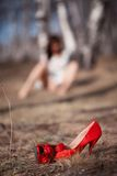 Red shoe with a blurred background Royalty Free Stock Photos