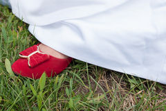 Red shoe of a bride Royalty Free Stock Photography