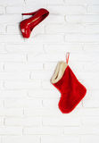 Red shoe and christmas stocking Stock Photo