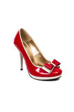 Red shoe with high heel Royalty Free Stock Images
