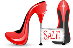 Red shoe with high heels Stock Photo