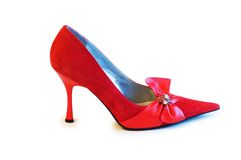 Red shoe isolated on the white background. Red shoe  isolated on the white background Royalty Free Stock Images