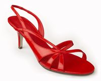 Red shoe. Red Patent Shoe on a white background Stock Photography