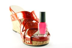 Red Shoe with Pink Nail Polish Stock Photography