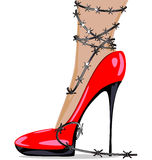 Red shoe and wire Stock Image