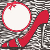 Red shoe with zebra skin texture Royalty Free Stock Photos