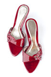 Red Shoes. Pair of high heel red female shoes isolated on white background Royalty Free Stock Photography