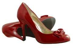 Red shoes. Red high-heeled court shoes isolated on white Royalty Free Stock Photography