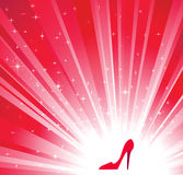 Red shoes. And star background vector illustration