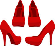 Red Shoes. Isolated on white background. Vector illustration Stock Photo