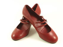 Red shoes. Red women high heel shoes on white isolated background royalty free stock photography
