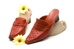 Red shoes. With yellow flower stock images