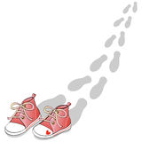 Red shoes. This vector illustration depicts a pair of blue shoes and the footprints that were left walking Royalty Free Stock Photos