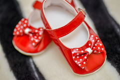 Red shoes baby girl Stock Photography
