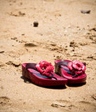 Red shoes on the beach Royalty Free Stock Images