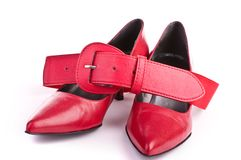 Red shoes with belt Stock Image